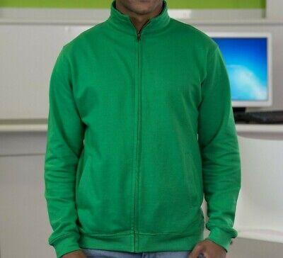 Mens Kelly Green full zip fleece sweat top sport Size XXL designer AWDis JH047 Full Zip Fleece Top