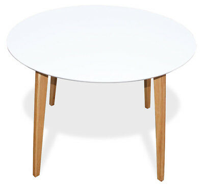 KMH® Esstisch Ø 105 cm weiss Esszimmertisch Küchentisch Holztisch Tisch rund ()