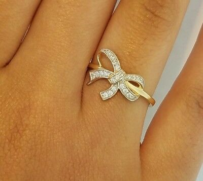 14K Solid Yellow Gold 0.50 Ct Diamond Bow Ring Ribbon Fancy Fashion Fine Party 14k Gold Ribbon Ring