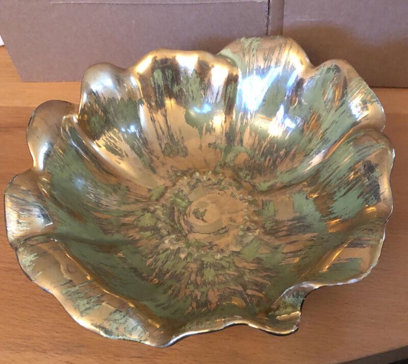 """Vintage STANGL 9"""" Rose Bowl RARE Green Gold - Hand Brushed 22 Carat Gold!"""