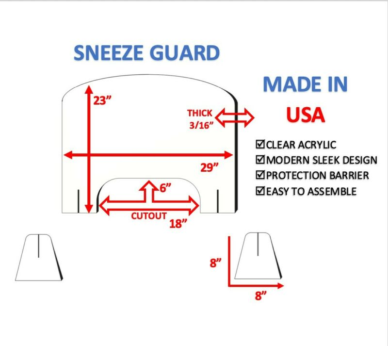 SNEEZE GUARD clear acrylic plexiglass OFFICE, SALON SHIELD protection barrier
