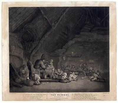 The School-Lehrer-Schule - Schabkunst Ostade / Baillie 1785