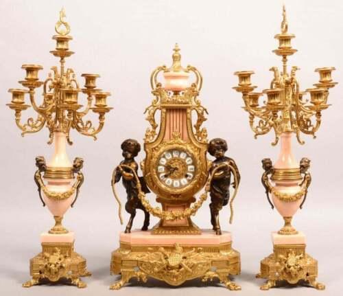 Franz Hermle Cherub Mantle Clock Set Pink Marble and Bronze