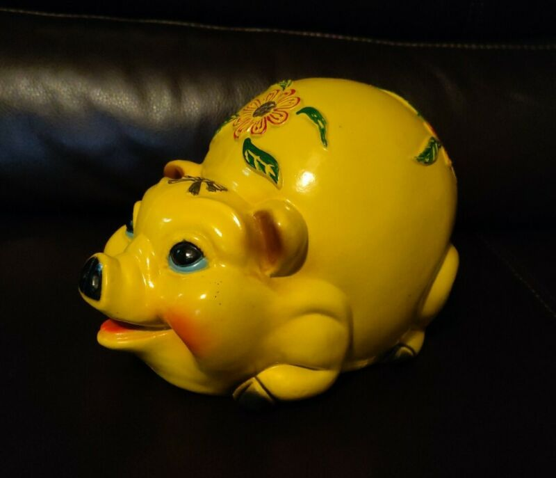 Vintage Rare Silvestri Bros 1960s Large Yellow Piggy Bank