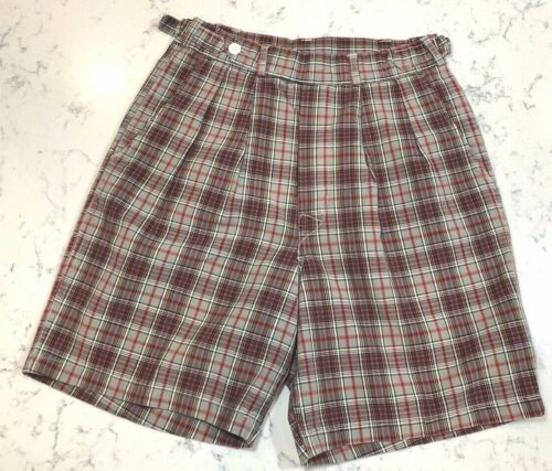 """Vintage Shorts Youth 1950s McGregor for boys Plaid cotton 26"""" waist"""