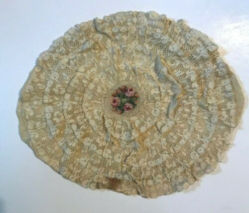 Antique vintage pillow cover Victorian lace and embroidery