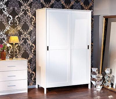Lackiert Breite Schrank (KLEIDERSCHRANK m. Schiebetüren, Massivholz-weiß lackiert, 120 cm breit,NEU & OVP)