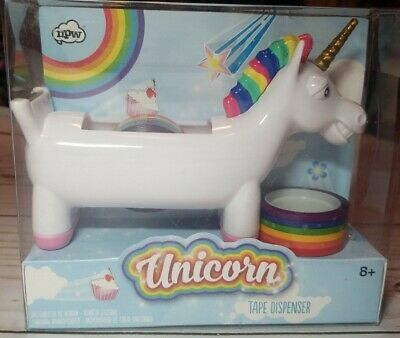 Tape Dispenser White Smiling Unicorn Desktop Tabletop 2 Rolls Rainbow Tape New