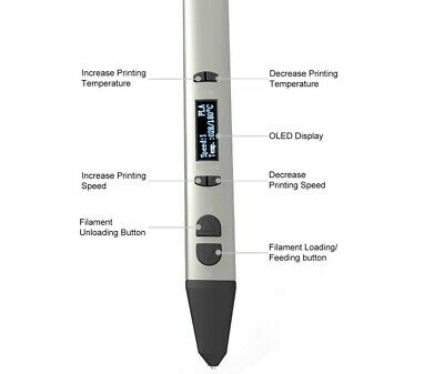 Brand New Sliver Metal 3D Printing Pen with OLED Display Support 1.75mm PLA