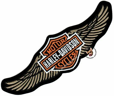 HARLEY DAVIDSON STRAIGHT WING BAR & SHIELD LARGE JACKET PATCH TAN MADE IN USA