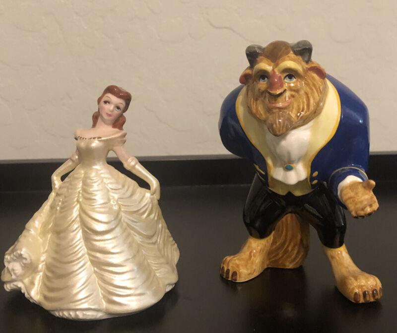 Vintage Disney Beauty & The Beast Ceramic Figurines  - Hand-painted Malaysia