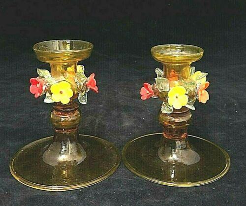 VINTAGE ART GLASS  PAIR MURANO CANDLE HOLDERS APPLIED FLOWERS