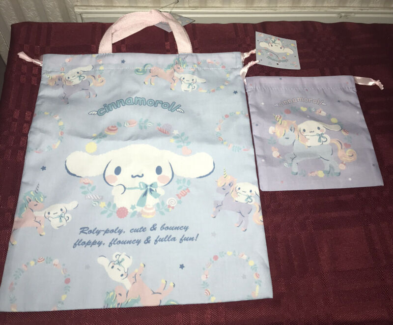 Sanrio Cinnamoroll Drawstring Bag And Pouch Set New