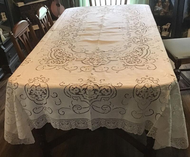 Vintage Italian Linen Point de Venise Embroidery Filet Lace Tablecloth 110x74