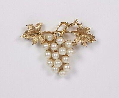 14k Yellow Gold Grape Vine Leaf Diamond Accent & Pearl Pin Brooch