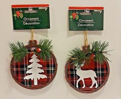 Set of 2 Holiday 4 Inch Plaid Round Rustic Cabin Tree Deer Christmas Ornaments - Rustic Christmas Tree Ornaments