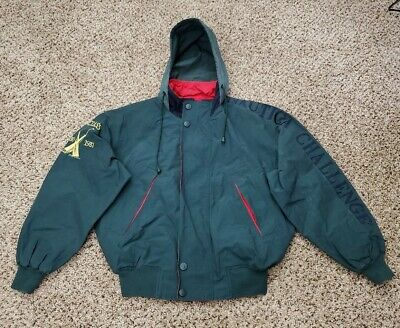 Vintage Nautica Challenge J-Class Jacket Green Red Competition Mens Size M