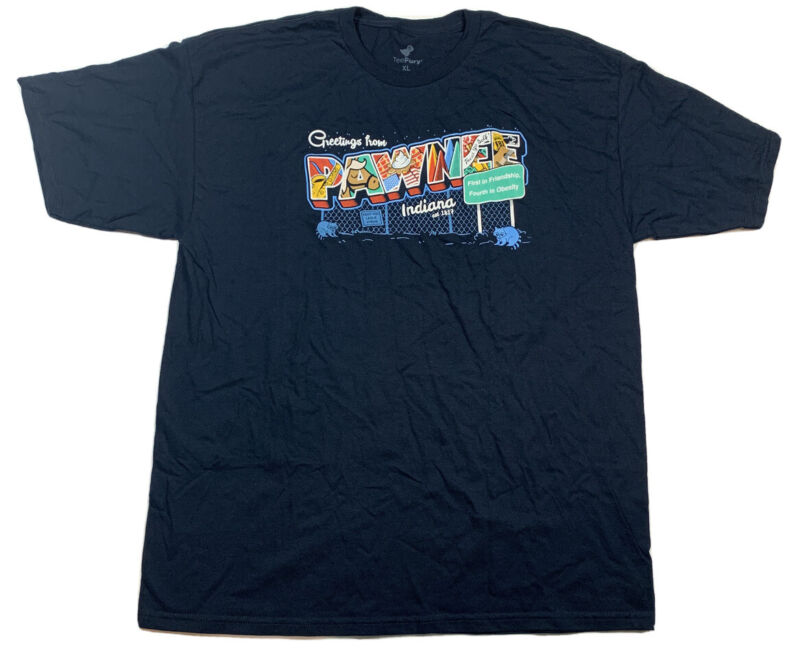 TeeFury greetings from pawnee Parks And Recreation Tshirt Navy Blue Size XL