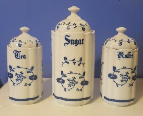 Portelanul Vintage Kitchen Canister Set Blue and White Made in Romania 3 Pieces