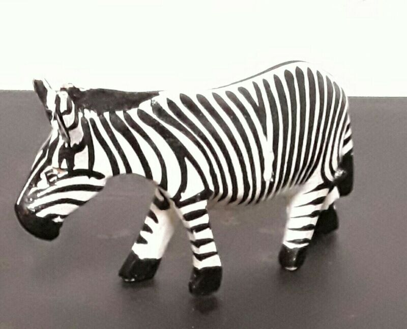 "6"" handcarved Wooden Zebra/ statue/ Figurine African Safari Decor"