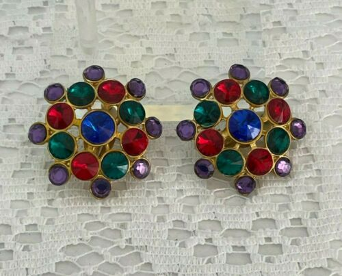 VTG Earrings Statement Flashy Lucite Acry-Gems Colorful Rivoli 80s Glamour Gold
