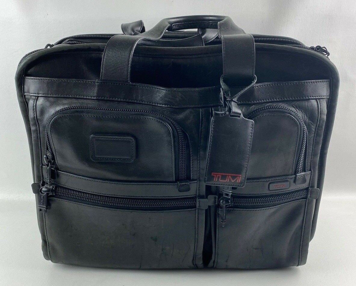 Tumi 96103DH Leather Expandable Wheeled Rolling Laptop Briefcase Carryon Bag - $99.99