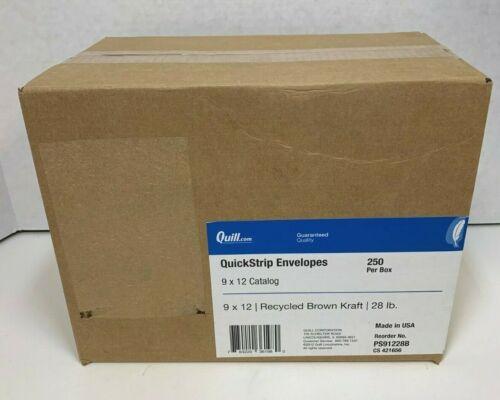 Quill Brand QuickStrip Brown Kraft Catalog Envelopes; 9x12, 250/Box