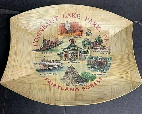 Vintage Conneaut Lake Park PA Amusement Park Souvenir woven Bamboo Tray/platter
