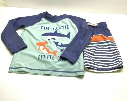 Carters Toddler Size 24 Mo Shark Long Sleeve Swim Shirt and Swim Trunks Shorts