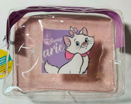 Daiso Disney MARIE ARISTOCATS CLEAR VINYL POUCH W/ GUSSET - NWT *US Seller*