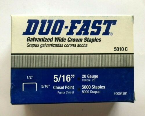 """Duo-Fast 5010 C Galvanized Wide Crown Staples 1/2""""x5/16"""" Chisel Point 5000-Pack"""