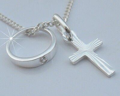 Taufring Kreuz Kette Echte Silber 925 Taufkette Taufcollier Taufschmuck Geschenk