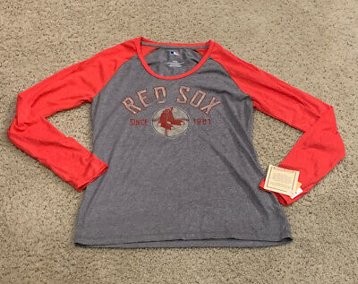 MLB Red Boston Red Sox Women's Long Length Sleeve T-Shirt Size Medium large -