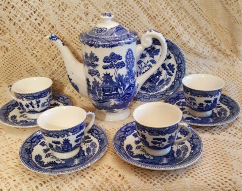 Antique Pottery China BLUE WILLOW teapot, 4 demi cups 5 saucers Japan excellent