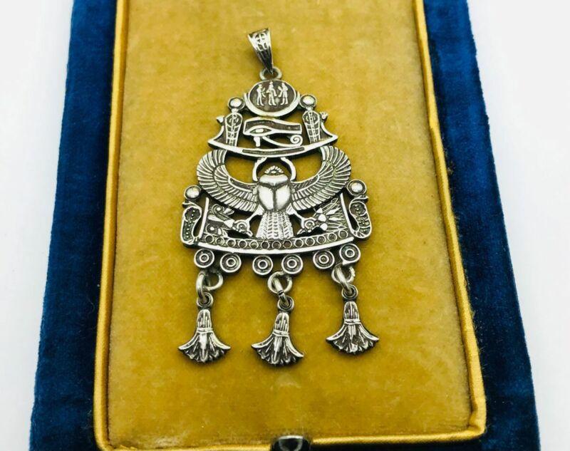 Art Nouveau Egyptian Revival Scarab Sterling Silver Drop Pendant