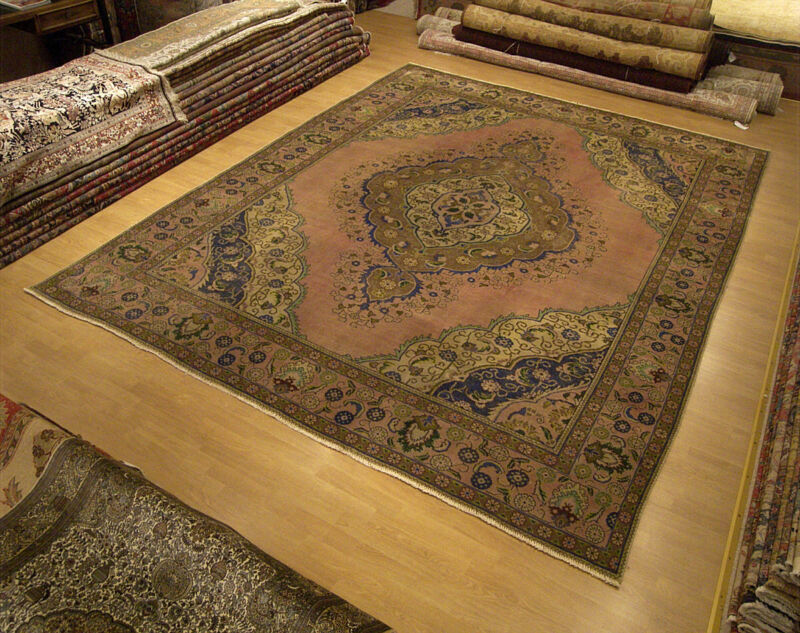 9.7 X 12.4 Hand Knotted Antique Persian Oriental Serapi Wool Rug Great Condition