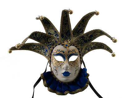 Mask from Venice Volto Jolly in Bavaria Blue and Golden 7 Spikes Muse 1600