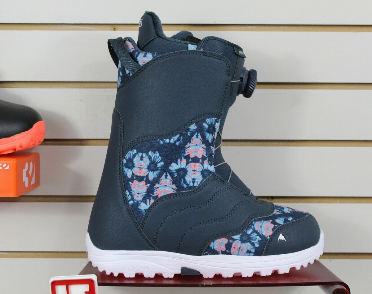 Burton Mint Boa Snowboard Boots Women Size 8 Midnight Blue /
