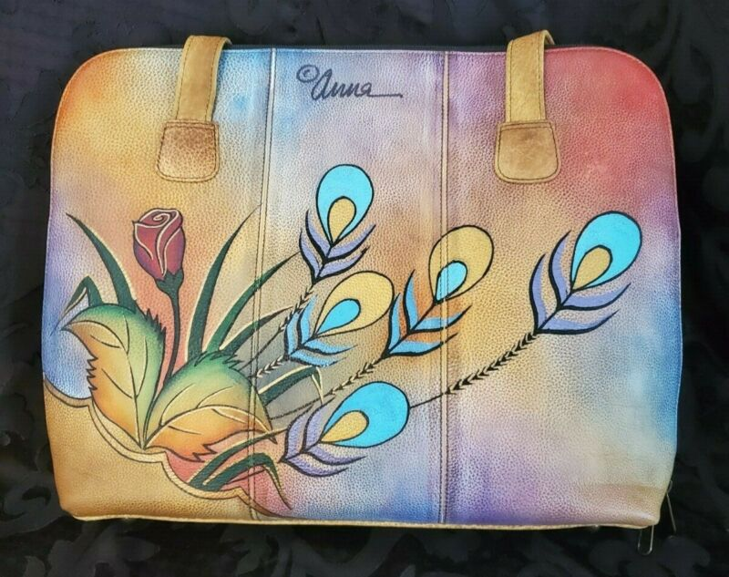 Vtg Anuschka Leather Floral Peacock Butterfly Hand Paint Shoulder Bag, Versatile