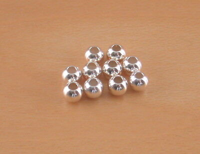 10 x Sterling Silver Beads/3mm Silver Drilled Beads/Polished Silver Beads/UK