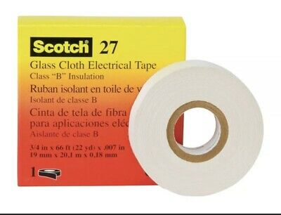 3m Scotch Cloth Electrical Tape Glass 27- Size 12 In X 66 Ft. White Class B