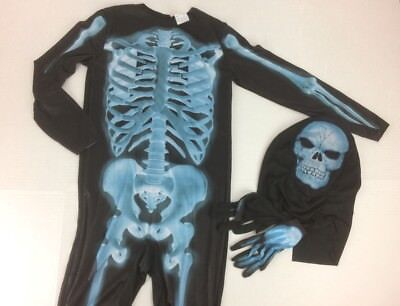 Skeleton Boy's Large Costume NWT Hyde & Eek Black Jumpsuit Mask Gloves