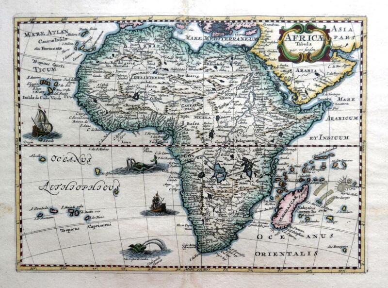 AFRICA  AFRICÆ TABULA  BY NICOLAS SANSON c1679  GENUINE ANTIQUE ENGRAVED MAP.