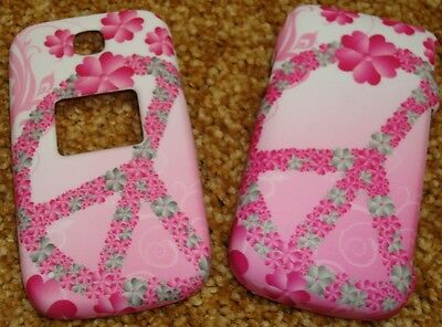 CuTe PINK PEACE Rubberized Hard Snap-on Case Cover for LG Envoy UN150, 221C 235C Lg Pink Hard Faceplates