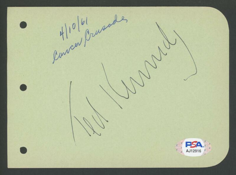 Senator TED KENNEDY signed album page | Early 1961 autograph - PSA/DNA