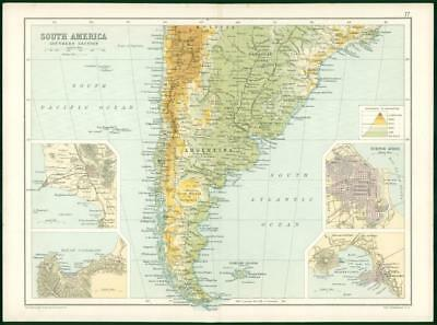 1912 Original Colour Antique Map  - SOUTH AMERICA CITY MAP BUENOS AYRES   (80)