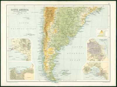 1912 Original Colour Antique Map  - SOUTH AMERICA CITY MAP BUENOS AYRES   (80)