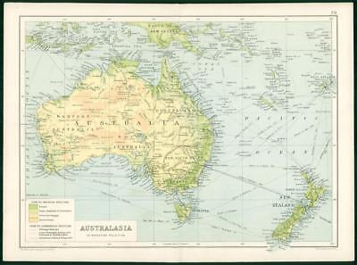 1912 Original Colour Antique Map - AUSTRALIA MERCATORS PROJECTION  (86)