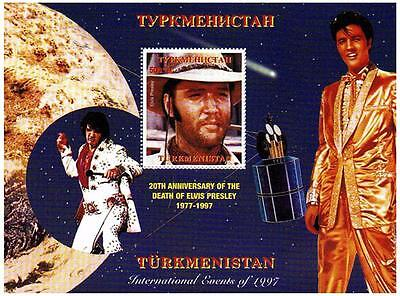 ELVIS PRESLEY IN COWBOY HAT TURKMENISTAN 1997 MNH STAMP SHEETLET
