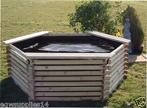 400 gallon garden fish koi pond with liner raised wooden for Koi pool liners